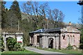 NS9297 : West Lodge at drive leading to Harviestoun Home Farm by Leslie Barrie
