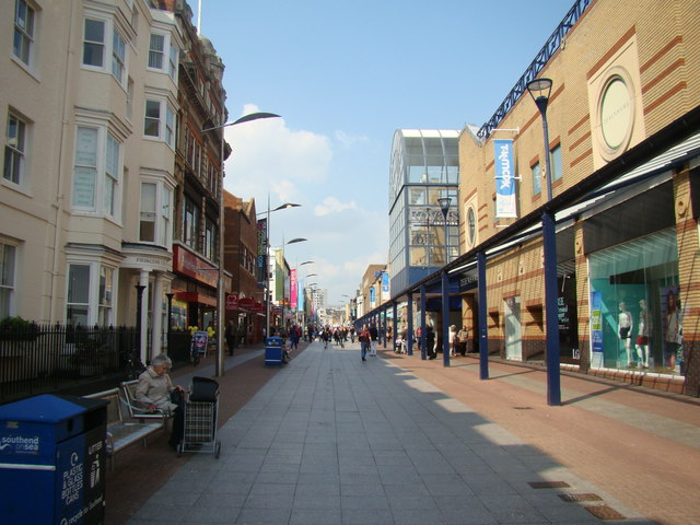 View along the High Street towards Southend Central station