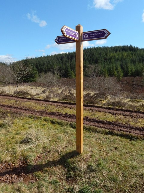 Signpost on the John Muir Way