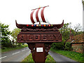 TM4593 : Aldeby Village sign by Adrian Cable