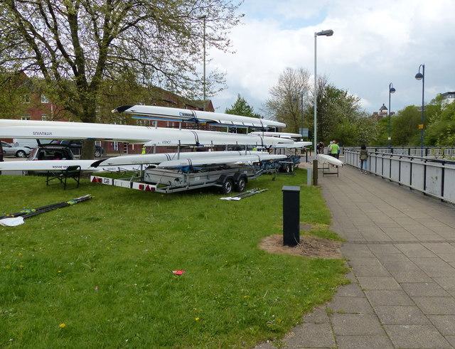 Rowing boats along Upperton Road