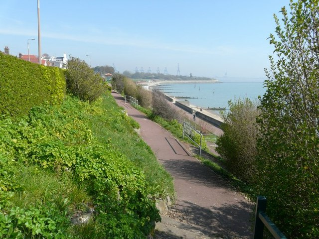Looking northeast along a path above Dovercourt Bay