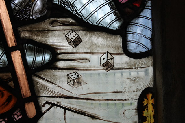 Detail, stained glass window, St Peter's church, Doddington