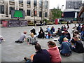 SK3587 : Sheffield: snooker watchers in Tudor Square by Chris Downer