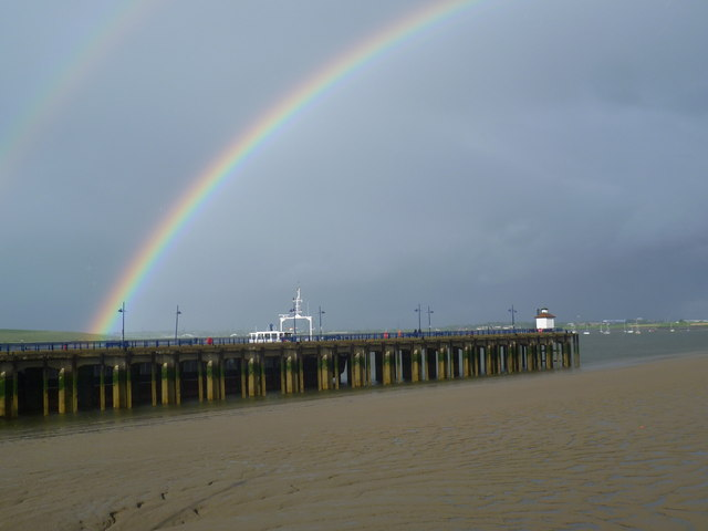 Rainbows over Erith Pier at low tide