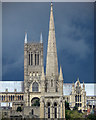 SK9771 : The spires and steeples of Lincoln by Steve  Fareham