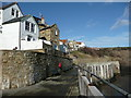 NZ9504 : The path on the sea wall, Robin Hood's Bay by Humphrey Bolton