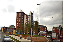 J3573 : Belfast - High Rise Dwelling at East End of Albert Bridge over River Lagan by Suzanne Mischyshyn
