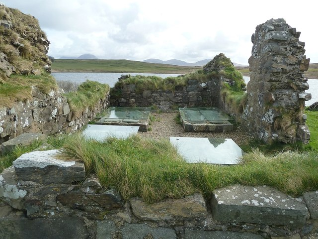 Finlaggan - Grave slabs inside the chapel