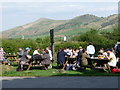 SK1285 : Edale: the Rambler Inn beer garden by Chris Downer