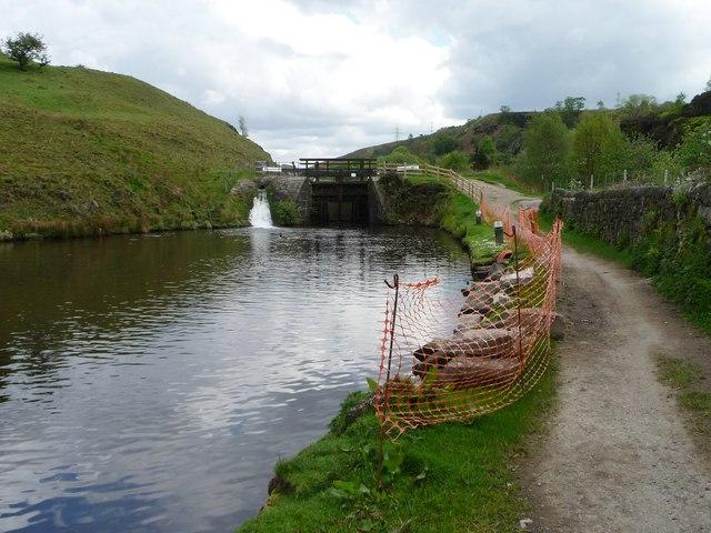 Safety fencing below Winterbutlee Lock, Rochdale Canal
