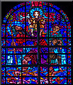 TR1557 : St Christopher bearing the Christ Child, Stained glass window, Canterbury Cathedral by Julian P Guffogg