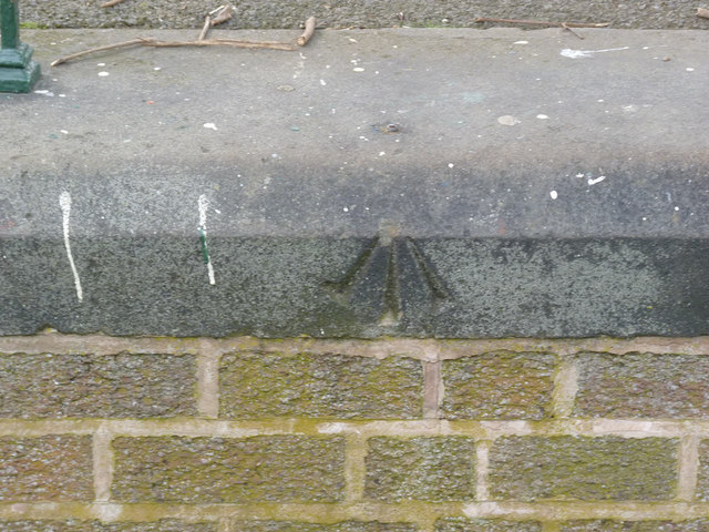 Rivet bench mark, Dovecote Park bandstand