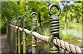 SP5141 : Footbridge handrail, Thenford Arboretum by David P Howard