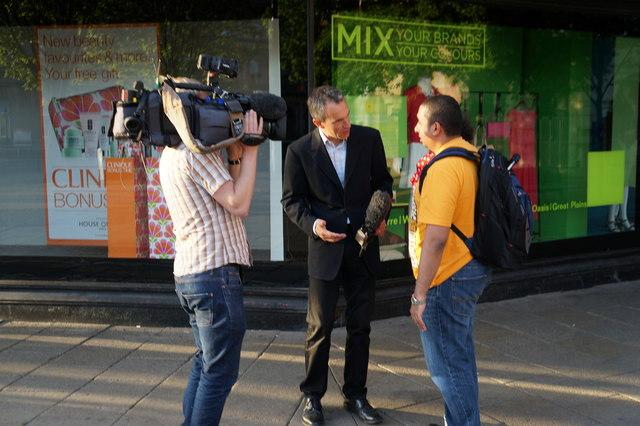 TV reporter on Jameson Street, Hull
