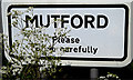 TM4788 : Mutford Village Name sign by Adrian Cable