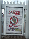TM0321 : Don't play on or near railway tracks by Hamish Griffin