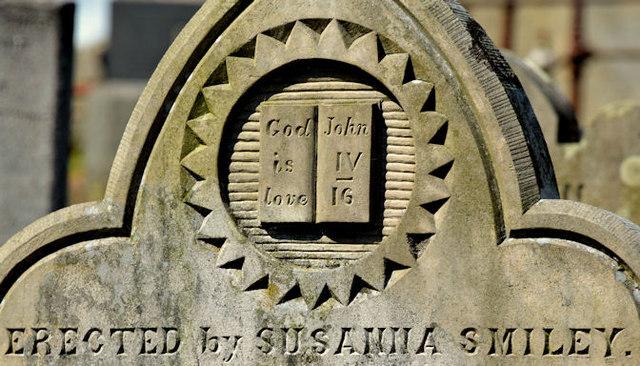 Smiley headstone, St Elizabeth's graveyard, Dundonald