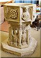 TM1581 : St Andrew, Thelveton - Font by John Salmon