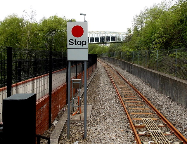 Stop sign at the northern end of Ebbw Vale Parkway railway station