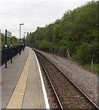 SO1707 : Ebbw Vale Parkway railway station platform by Jaggery