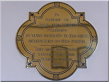SU4774 : St Mary, Chieveley: memorial (e) by Basher Eyre