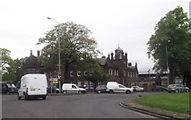 NS3975 : Roundabout near Burgh Hall by John Firth