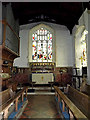 TM1577 : Altar & Stained Glass Window of St.Nicholas the Great Church by Adrian Cable