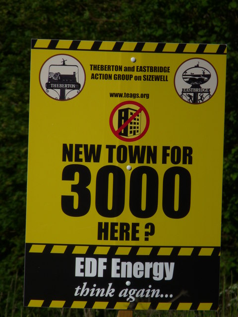 Protest sign: Sizewell C Proposed Residential Area