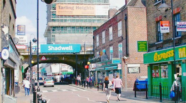 Watney Street and entrances to Shadwell Stations
