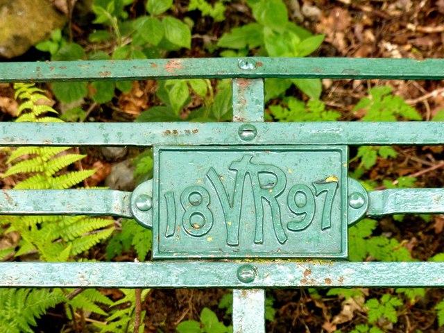 Plaque on iron seat commemorating  Queen Victoria's diamond jubilee