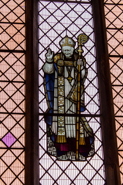 Stained glass window of Bishop Edward King, St Martin's church