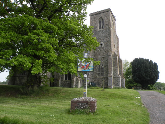 All Saints: the parish church of Besthorpe and village sign