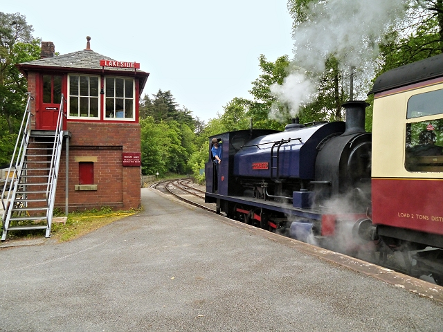 Steam Train Departs from Lakeside Station