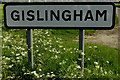 TM0772 : Gislingham Village Name sign by Adrian Cable