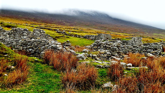 County Mayo - Achill Island - Deserted Village - Derelict Cottages