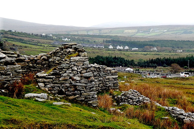 County Mayo - Achill Island - Deserted Village - Cottage, Cemetery, Parking Area