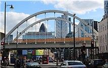 TQ3382 : Railway bridge over the A10, London by Bob Embleton