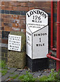 SK2424 : Milepost at The Royal Oak, Horninglow by Alan Murray-Rust