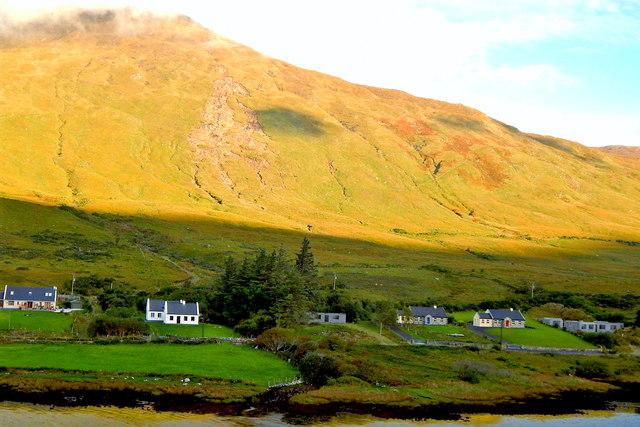 County Mayo - Homes along R335 at Base of Sheeffry Hills (761)