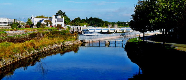 Galway City - Corrib River Canal around the Salmon Weir
