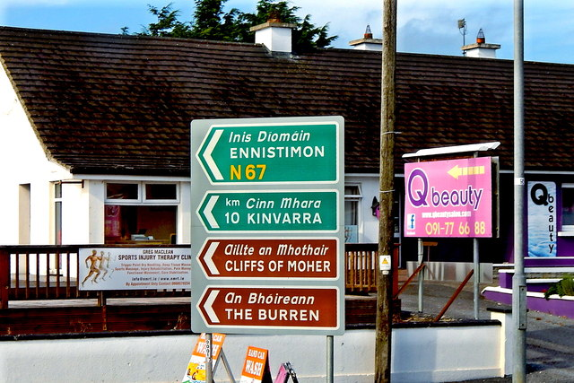 Road Signs in Kilcolgan at junction of N18 & N67 & Qbeauty Salon