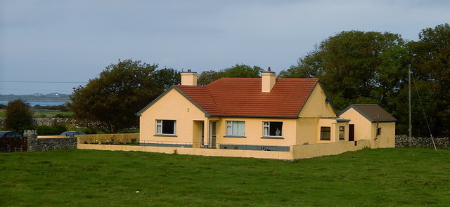 County Galway - Bright Yellow House with Red Roof off N67 near Inishroo