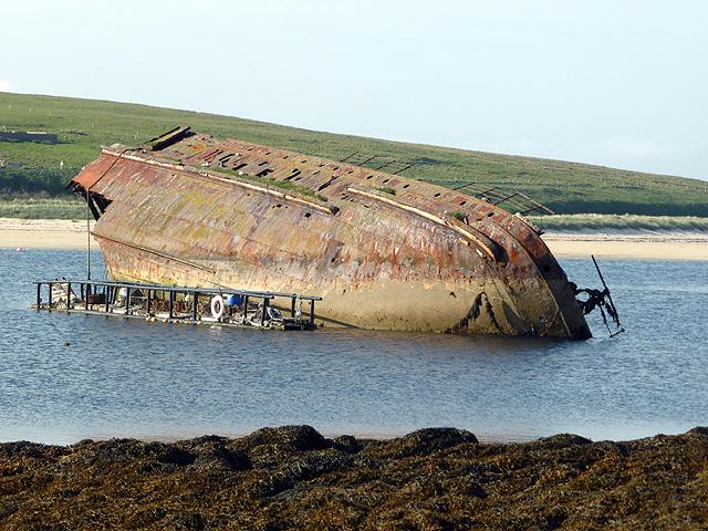 Stern section of blockship SS Reginald by Churchill Barrier No 3