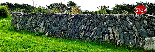 County Clare - R480 - Poulnabrone Dolmen Area - Wall at Entrance