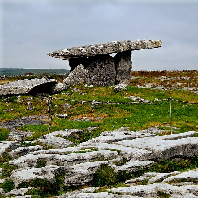 County Clare - R480 - Poulnabrone Dolmen (3500 BC) - View to Northeast