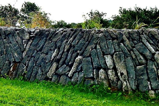 County Clare - R480 - Poulnabrone Dolmen Site - Burren Wall