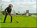 NY3551 : Wickerman sculpture near the entrance to Dobbies Garden World by Rose and Trev Clough
