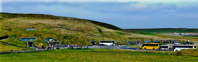 County Clare - R478 - Cliffs of Moher - Visitor's Centre in Hillside & Parking Area