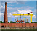 J3474 : Chimney and cranes, Belfast by Rossographer